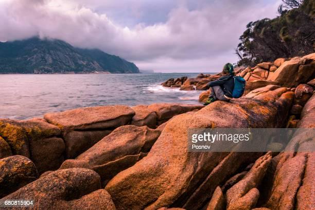 View to the Freycinet Peninsula Hazards from Wineglass Bay, Tasmania