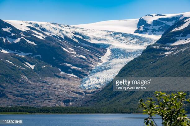view to the glacier engenbreen/svartisen, norway - finn bjurvoll stock pictures, royalty-free photos & images