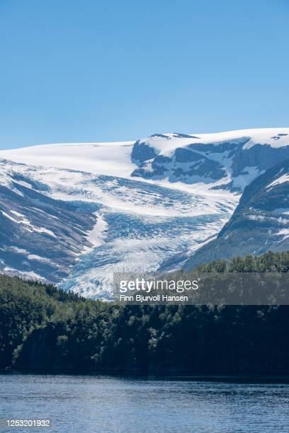 view to the glacier engenbreen/svartisen, norway - vertical - finn bjurvoll bildbanksfoton och bilder