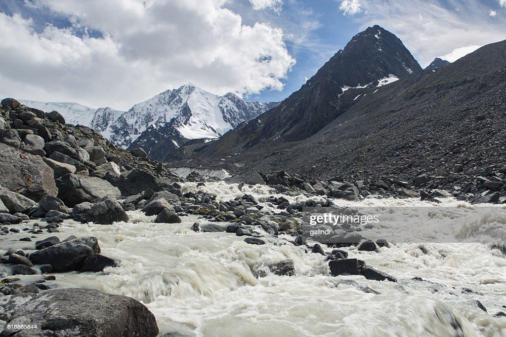 View to the glacier of Beluha mountain : Stock Photo