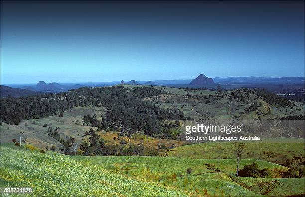 a view to the glass house mountains, south east queensland, australia. - glass house mountains stock pictures, royalty-free photos & images