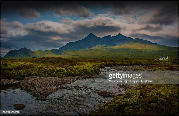 A view to the mountain range know as the Cuillins on the Isle of Skye, Inner Hebrides, Scotland.