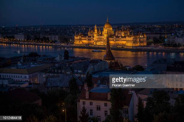 View to the river Donau and the Hungarian Parliament on July 13 2018 in Budapest Hungary