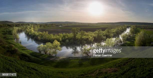 View to the river Mieresch in Transilvania on April 14 2018 in Porumbenii Mari Romania