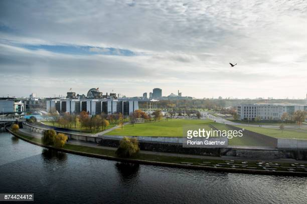 View to the river Spree and the Reichstag Building on November 14 2017 in Berlin Germany
