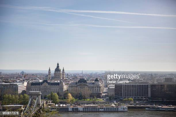 View to the Szent Istvánbazilika and the river Donau on April 14 2018 in Budapest Hungary