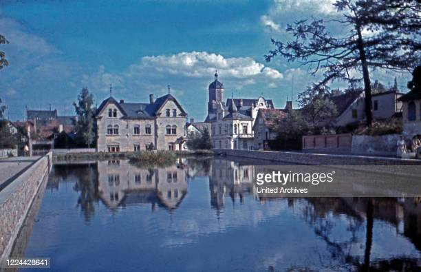 View to the town of Neustadt on river Orla Thuringia Germany 1930s