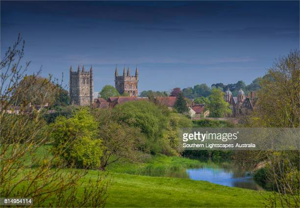 a view to wimborne minster, dorset, england, united kingdom - minster stock photos and pictures