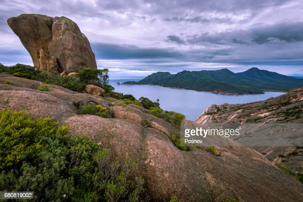 View to Wineglass Bay from mt Parsons, Freycinet National Park, Tasmania