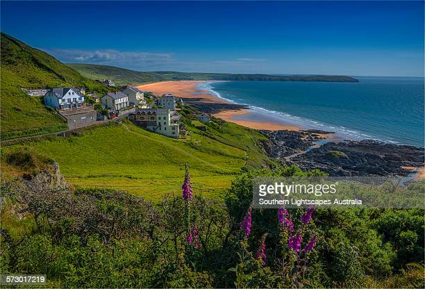 view to woolacombe sands - devon stock pictures, royalty-free photos & images
