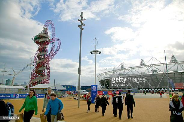 A view toward the Anish Kapoor sculpture outside the main Olympic stadium