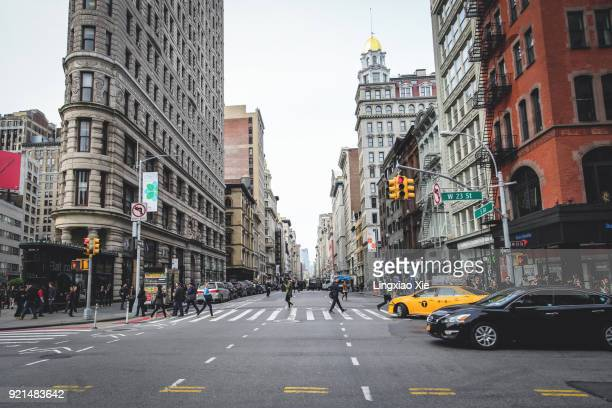 View towards 5th Ave with Flatiron Building, Manhattan, New York