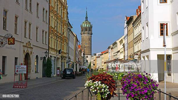 view towards castle church, lutherstadt wittenberg - lutherstadt wittenberg stock pictures, royalty-free photos & images