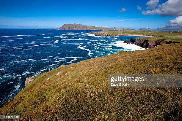 view towards clogher beach and the three sisters - ring of kerry stock photos and pictures
