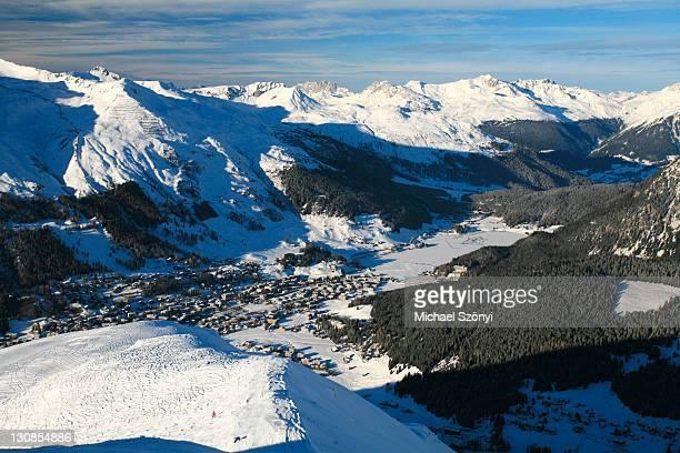 View towards Davos, Davos Lake and Praettigau Valley as seen from Jakobshorn Mountain, Graubuenden, Switzerland