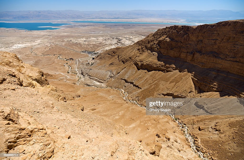 A view towards Dead Sea from Masada Fortress : Stock Photo