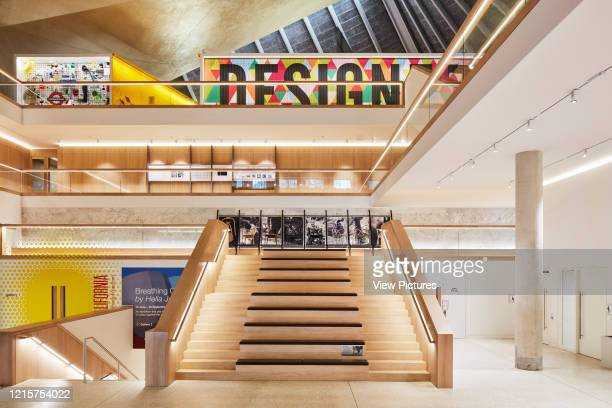 View towards exhibition from lower landing. Indigo; A Cultural Iconography at Design Museum London, London, United Kingdom. Architect: Stellar Works,...