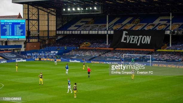A view towards Gwladys Street from the Upper Bullens Stand during the Premier League match between Everton FC and Southampton FC at Goodison Park on...