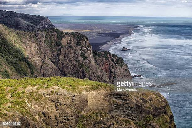 View towards Karekare Beach on Auckland's west coast from clifftop track