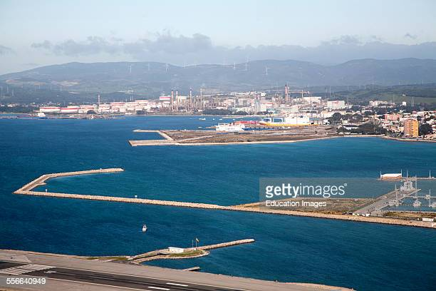 View towards large oil refinery in La Linea Spain from Gibraltar British overseas territory in southern Europe