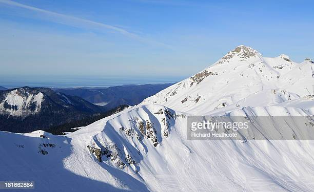 View towards the Black Sea and the city of Sochi from the peak at the Rosa Khutor Alpine Ski Resort in Krasnaya Polyana on February 14, 2013 in...