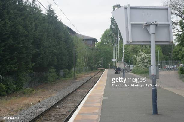View towards the buffer stops at St Albans Abbey station Hertfordshire showing the security mirror in the foreground 3rd May 2007