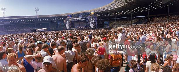 A view towards the main stage at the Live Aid charity concert Wembley Stadium London 13th July 1985