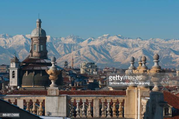 View towards the mountains with snow in the background during the Christmas period on December 3, 2017 in Turin, Italy.