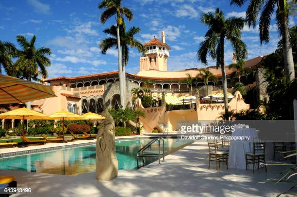 View towards the pool and spa of the MaraLago estate Palm Beach Florida February 13 2017