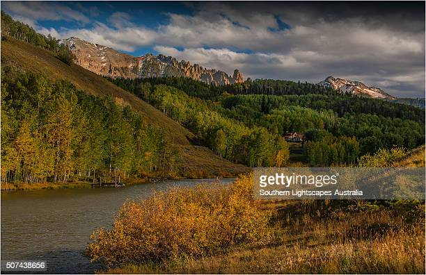 a view towards the san juan mountains, colorado, south west united states of america. - san juan mountains stock photos and pictures