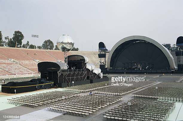 A view towards the stage before a concert by Pink Floyd at the Rose Bowl stadium in Pasadena California during the group's Division Bell Tour...