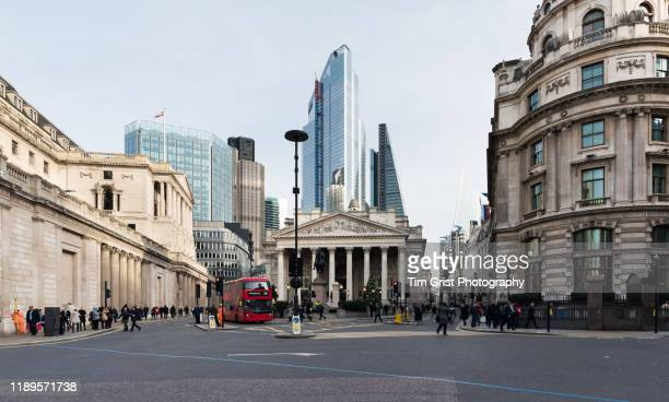 view towards threadneedle street and cornhill in the city of london's financial district. uk - central london stock pictures, royalty-free photos & images