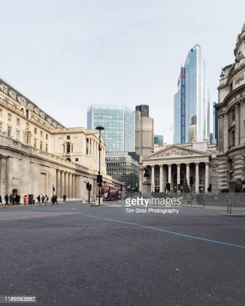view towards threadneedle street and the city of london's financial district. uk - high street stock pictures, royalty-free photos & images