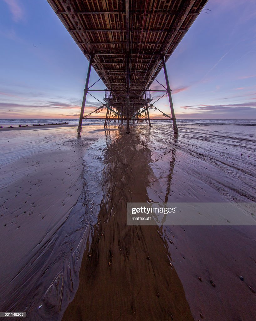 View Under Eastbourne Pier, East Sussex, England, UK : Stock Photo