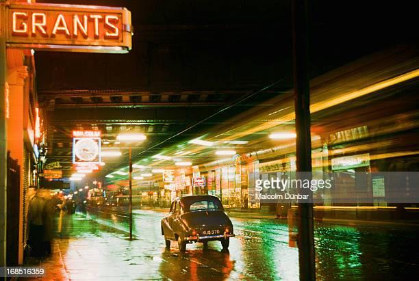 A view underneath Hielanman's Umbrella at night Argyll Street Glasgow 1955