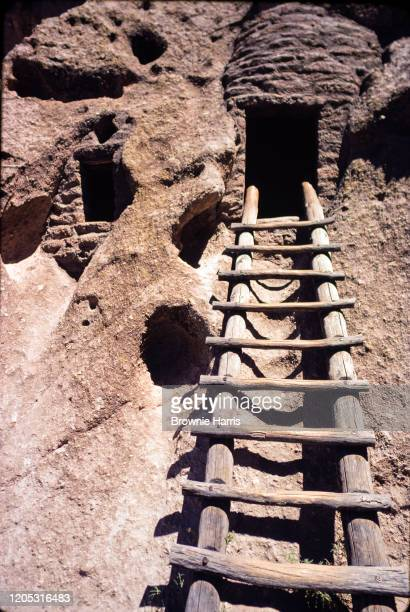 View up a ladder into a Pueblo cave cliff dwelling at Bandelier National Monument, Los Alamos, New Mexico, 1979.