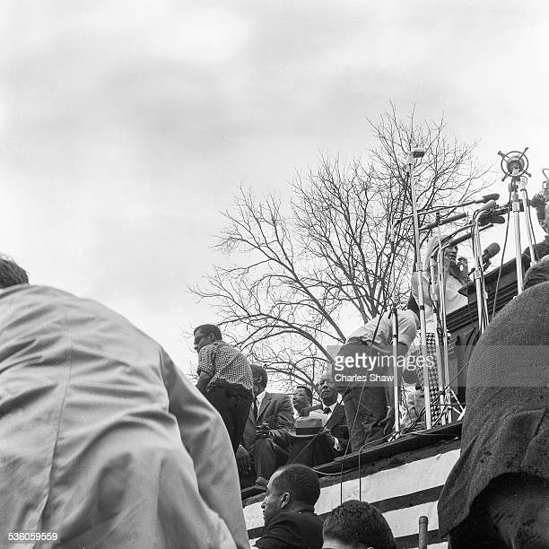 View up at the podium in front of the Alabama State Capitol at the end of the Selma to Montgomery March Montgomery Alabama March 25 1965 Among the...