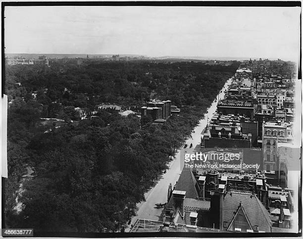 View up Fifth Avenue from the roof of the Metropolitan Club at 61st Street New York New York mid 1900s Central Park the Central Park Arsenal and...