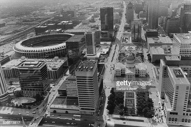 A view up Market Street and Chestnut Street in St Louis Missouri showing the Busch Stadium on the left and the Old Courthouse in the centre right...