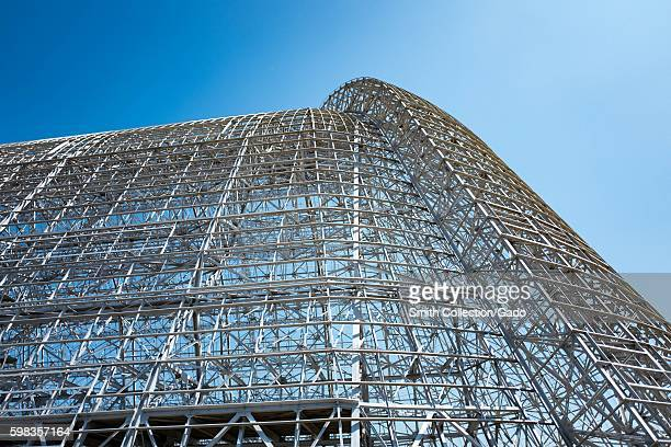View up the side of the metal structure of Hangar One within the secure area of the NASA Ames Research Center campus in the Silicon Valley town of...