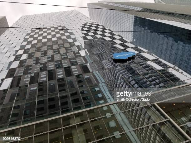 View up the side of the Salesforce Tower with Salesforce logo visible in San Francisco California January 14 2018