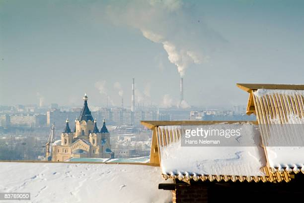 view upon nizhniy novgorod from the old kremlin - nizhny novgorod oblast stock photos and pictures