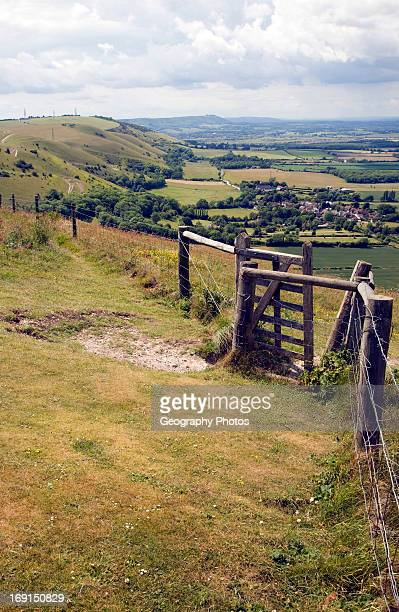 View west along chalk escarpment near Fulking West Sussex England