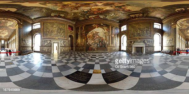 A view which includes the restored west wall and upper hall ceiling of the The Old Royal Naval College's Painted Hall following its first restorative...