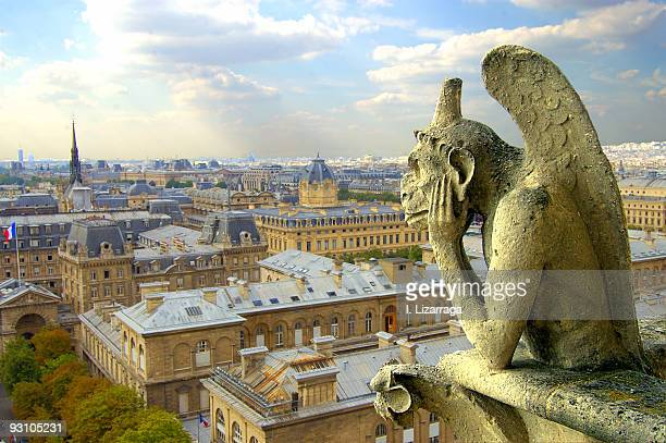 view with gargoyle - notre dame de paris stock photos and pictures