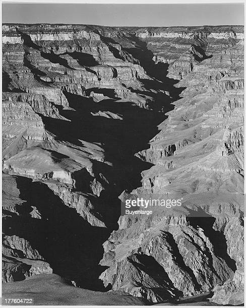 View with shadowed ravine from the south rim Grand Canyon Arizona 1941