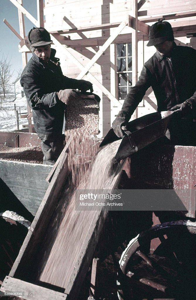 A view workers load grain in winter in North Dakota.