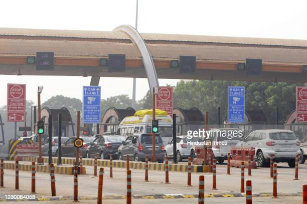 View Yamuna expressway Jewar Toll plaza, on December 12, 2020 in Greater Noida, India. The increase in security arrangement comes as thousands of...