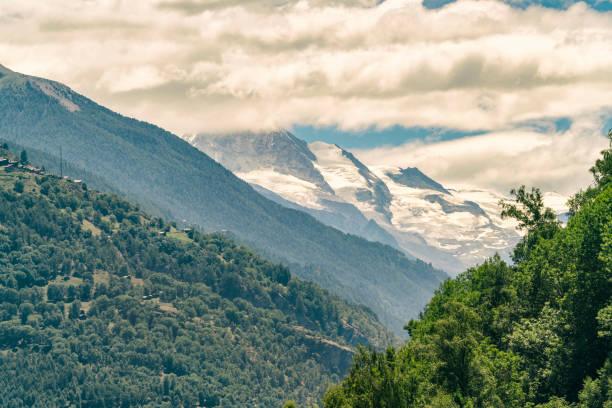 ViewAof mountains around Zermatt from cable car, Zermatt, AValais, Switzerland