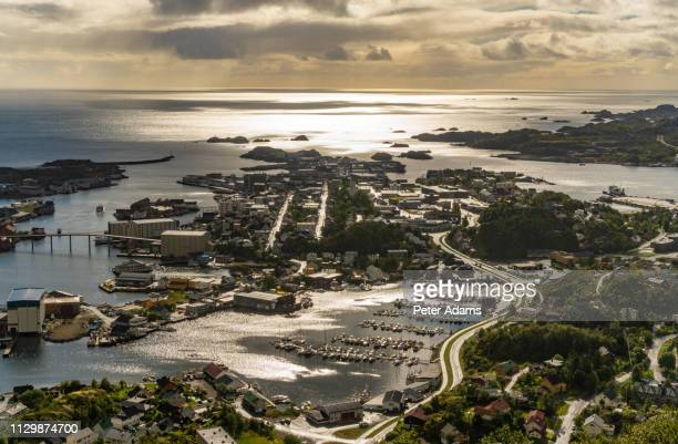 viewed from above the town of svolvaer on the island of austvagsoya, lofoten, norway - peter adams stock pictures, royalty-free photos & images